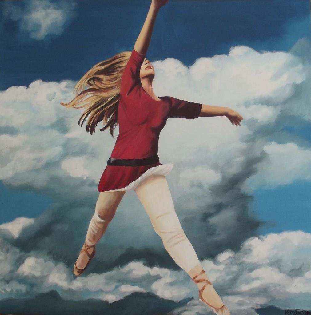 Katia Scotti,anno 2012, misura 70x70 cm,tecnica acrilico su tela.Titolo La ballerina